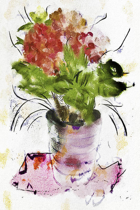 Digital Art Art Print featuring the digital art Hydrangea In A Pot Watercolor by Jill Balsam