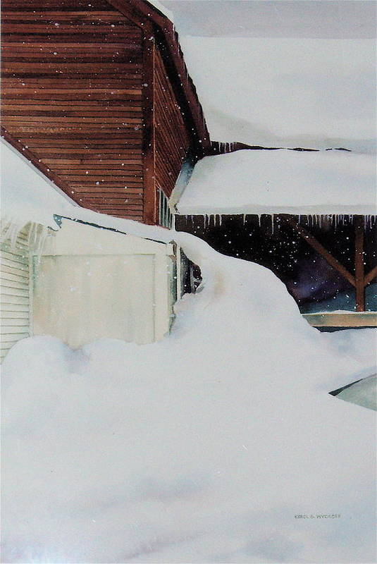 Barn Art Print featuring the painting Icicles by Karol Wyckoff