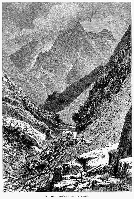 1875 Art Print featuring the photograph Italy: Carrara Mountains by Granger
