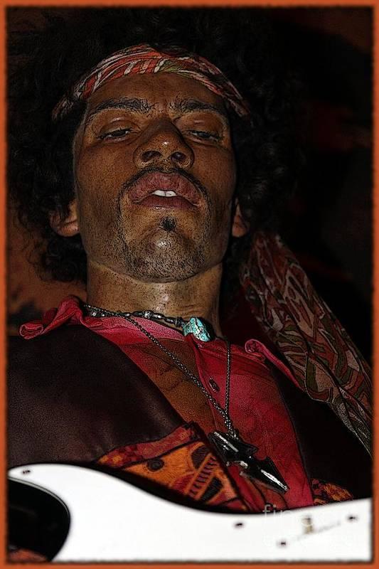 Jimi Hendrix Print featuring the photograph Jimi Hendrix Cartoon by Sophie Vigneault
