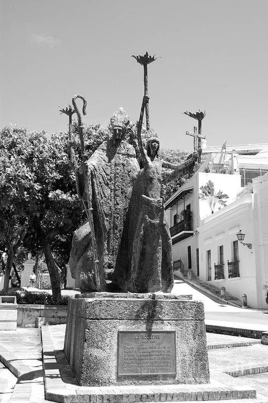 Old San Juan Art Print featuring the photograph La Rogativa Sculpture Old San Juan Puerto Rico Black And White by Shawn O'Brien