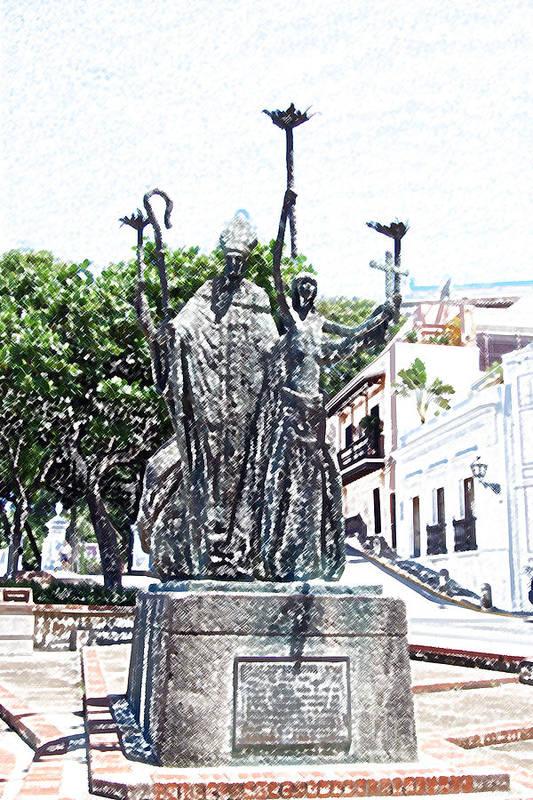 Old San Juan Art Print featuring the digital art La Rogativa Sculpture Old San Juan Puerto Rico Colored Pencil by Shawn O'Brien
