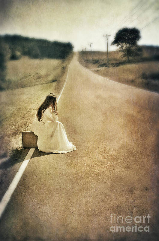 Woman Art Print featuring the photograph Lady In Gown Sitting By Road On Suitcase by Jill Battaglia