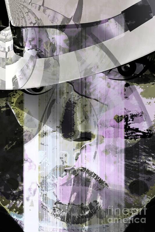 Wisdom Art Print featuring the mixed media Lady Wears Hat by Fania Simon