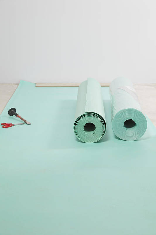 Nobody Art Print featuring the photograph Laying A Floor. Rolls Of Underlay Or by Magomed Magomedagaev