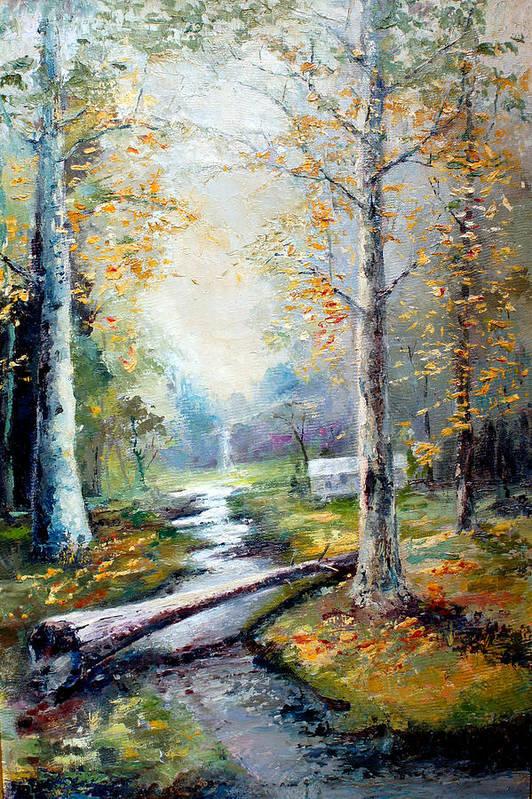 Australian Art Print featuring the painting Leaving The Woodland Creek by Giro Tavitian
