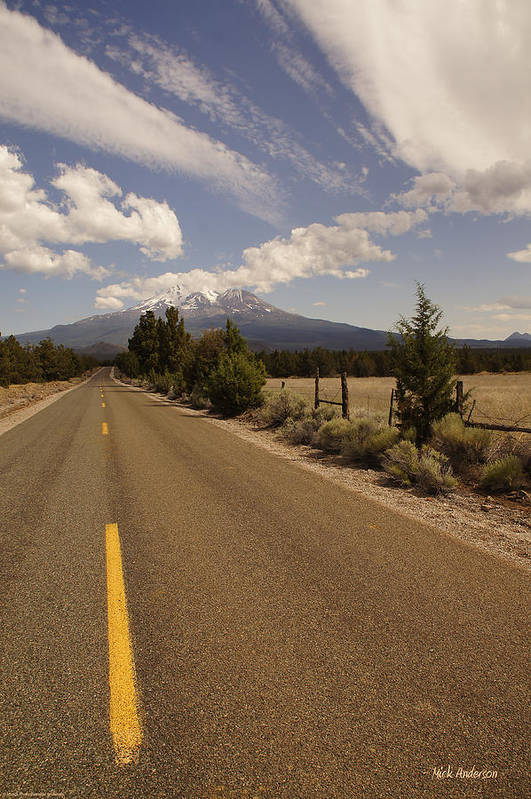 Lonesome Art Print featuring the photograph Lonesome Hiway To Shasta by Mick Anderson