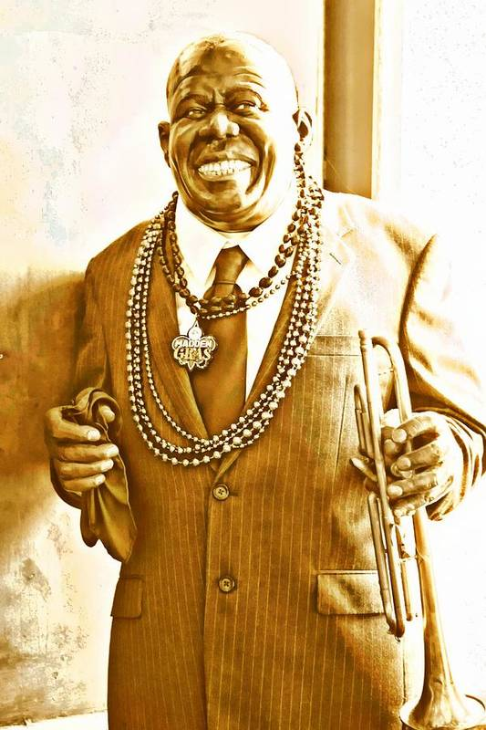 Louis Armstrong Art Print featuring the digital art Louis Armstrong by Carrie OBrien Sibley