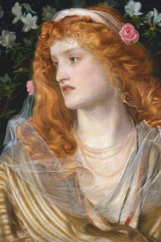 Pre-raphaelite; Victorian; Female; Veil; Auburn; Redhead; Red-haired; Heroine; The Tempest; Shakespeare; Literature Print featuring the painting Miranda by AFA Sandys