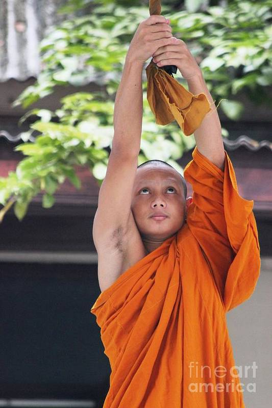 Buddhism Art Print featuring the photograph Monk In The Bell Tower #2 by Nola Lee Kelsey