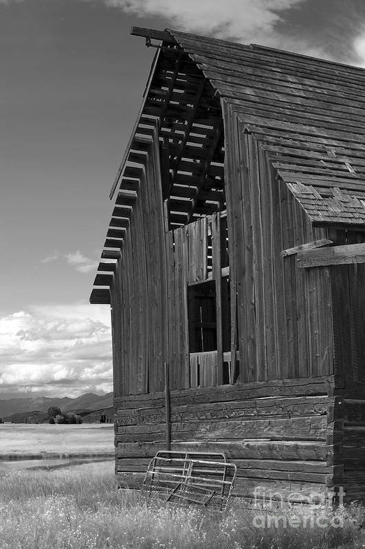 Sandra Bronstein Art Print featuring the photograph Montana Weathered Barn by Sandra Bronstein