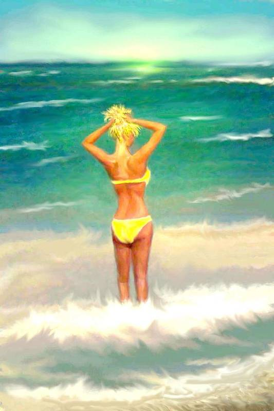 Sky Blue Yellow Colour Art Print featuring the painting Morning On The Beach 2 by Eric Sosnowski
