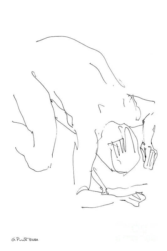 Male Art Print featuring the drawing Nude-male-artwork-21 by Gordon Punt