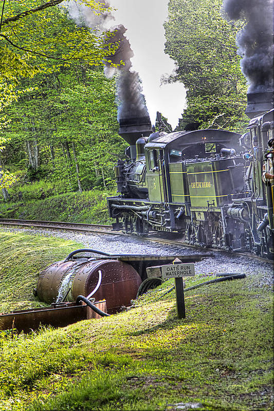 Locomotive cass Scenic Railroad west Virginia Scenic Rural Lumber Timber Cass steam Engines steam Locomotive Railroad Railway Art Print featuring the photograph Oat's Run Water Tank by Tom Steele