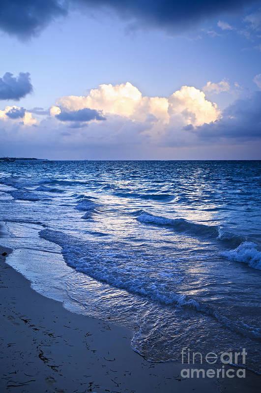 Sunrise Art Print featuring the photograph Ocean Waves On Beach At Dusk by Elena Elisseeva