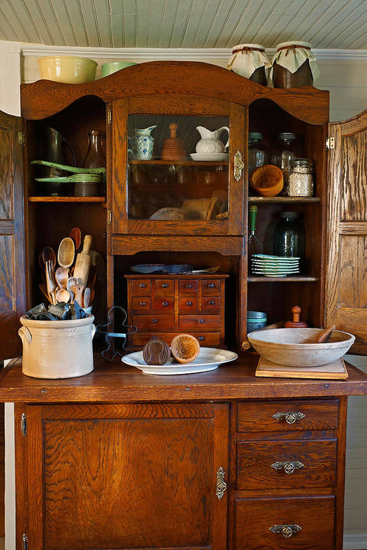 Hoosier Cabinet Art Print featuring the photograph Old Bakers Cabinet by Carmen Del Valle