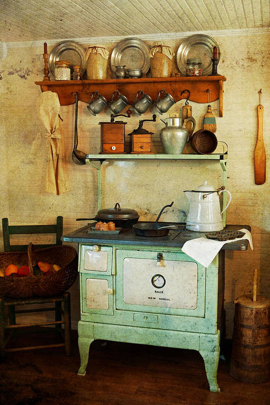 Antiques Art Print featuring the photograph Old Cast Iron Cook Stove by Carmen Del Valle