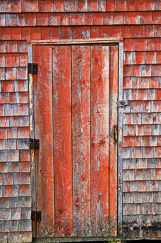 Peggy's Cove Art Print featuring the photograph Old Orange Door by Garry Gay