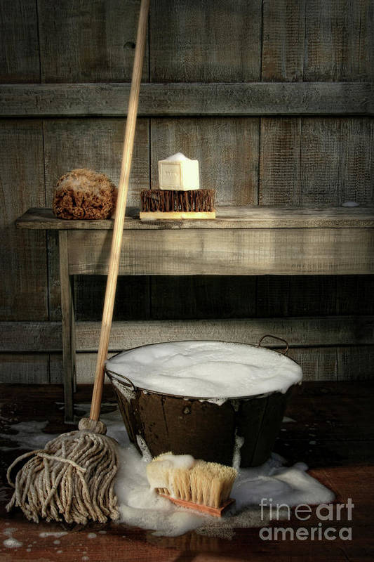 Antique Art Print featuring the photograph Old Wash Bucket With Mop And Brushes by Sandra Cunningham