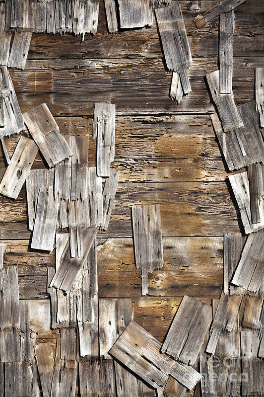 Abandoned Art Print featuring the photograph Old Wood Shingles On Building, Mendocino, California, Ca by Paul Edmondson
