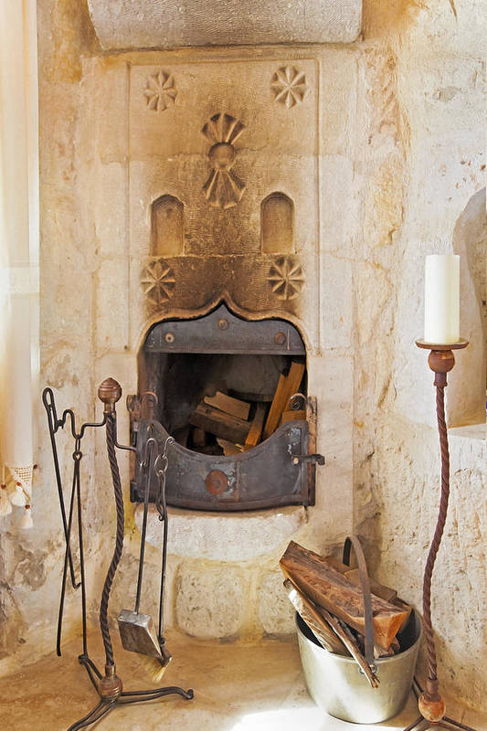 Interesting Print featuring the photograph Olde Worlde Fireplace In A Cave by Kantilal Patel