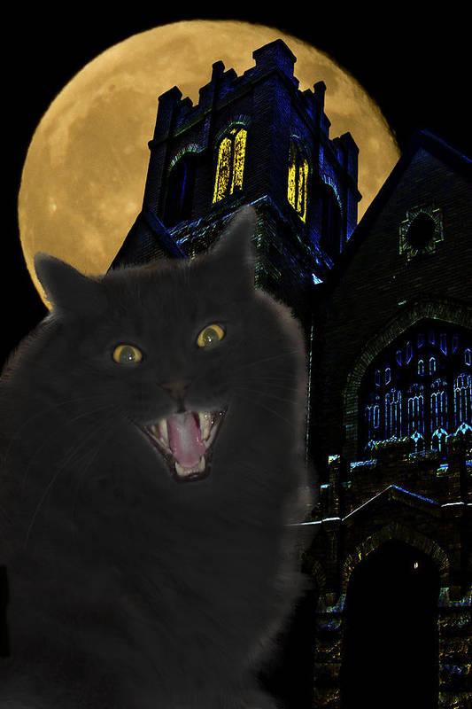 Black Cat Art Print featuring the photograph One Dark Halloween Night by Shane Bechler