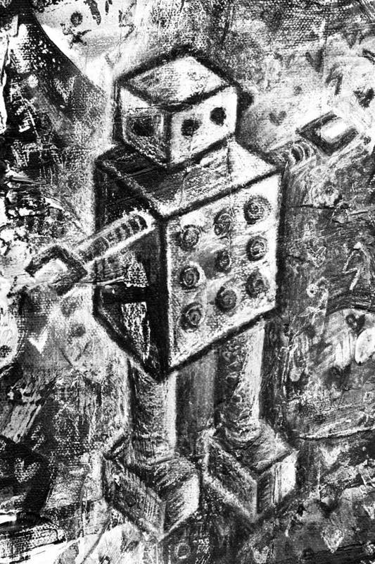 Robot Art Print featuring the painting Painted Robot 1 Of 6 by Roseanne Jones