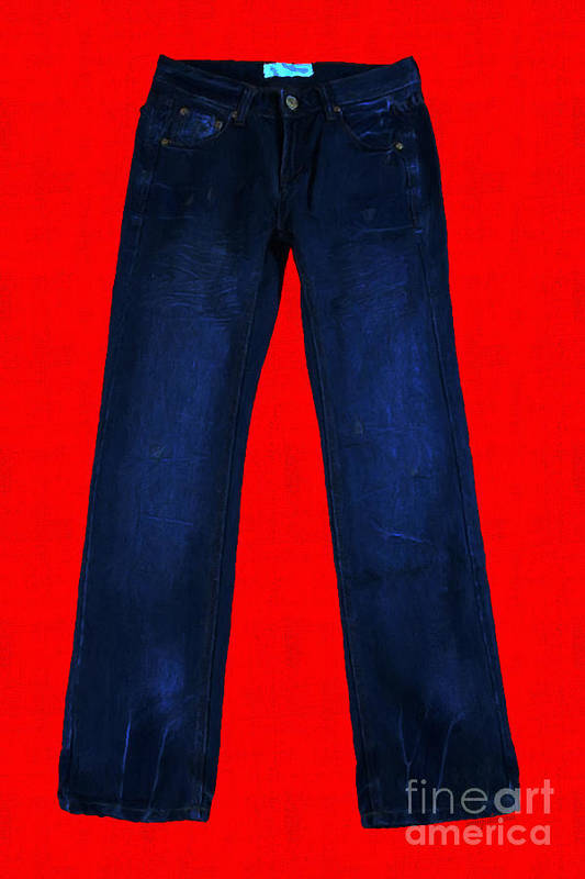 Blue Art Print featuring the photograph Pair Of Jeans 2 - Painterly by Wingsdomain Art and Photography