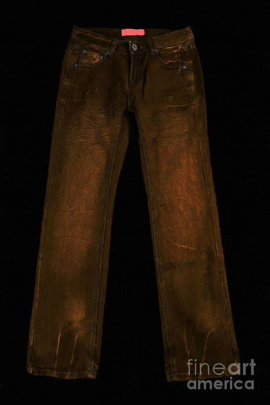 Brown Print featuring the photograph Pair Of Jeans 3 - Painterly by Wingsdomain Art and Photography