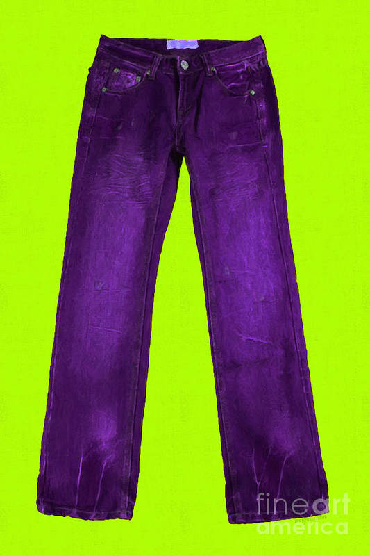 Purple Art Print featuring the photograph Pair Of Jeans 5 - Painterly by Wingsdomain Art and Photography
