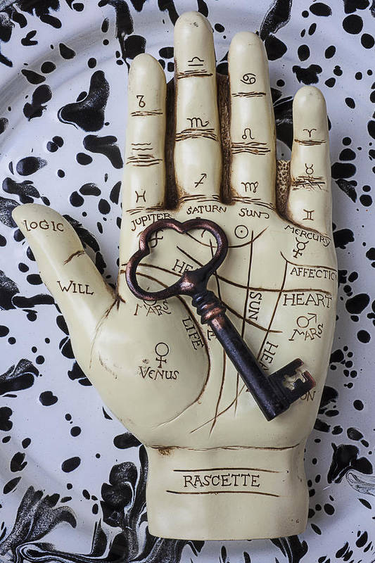 Palm Reader Hand Art Print featuring the photograph Palm Reading Hand And Key by Garry Gay
