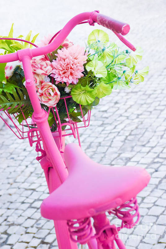 Angle Art Print featuring the photograph Pink Bicycle by Carlos Caetano