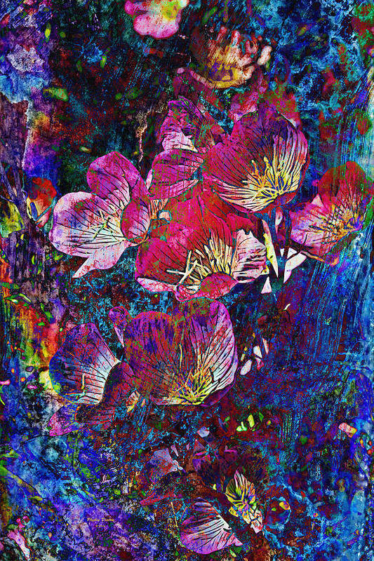 Abstract Art Print featuring the photograph Pink Floral Abstract by Phyllis Denton