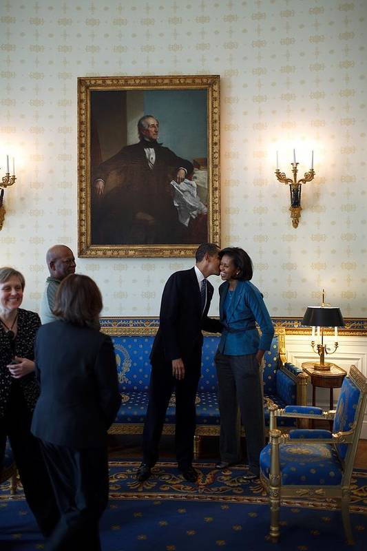 History Art Print featuring the photograph President Obama Kisses First Lady by Everett