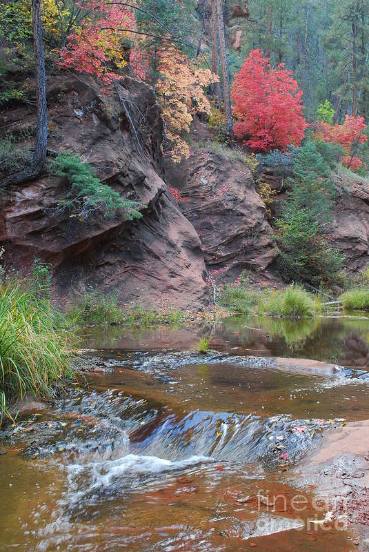 Sedona Art Print featuring the photograph Rainbow Of The Season And River Over Rocks by Heather Kirk