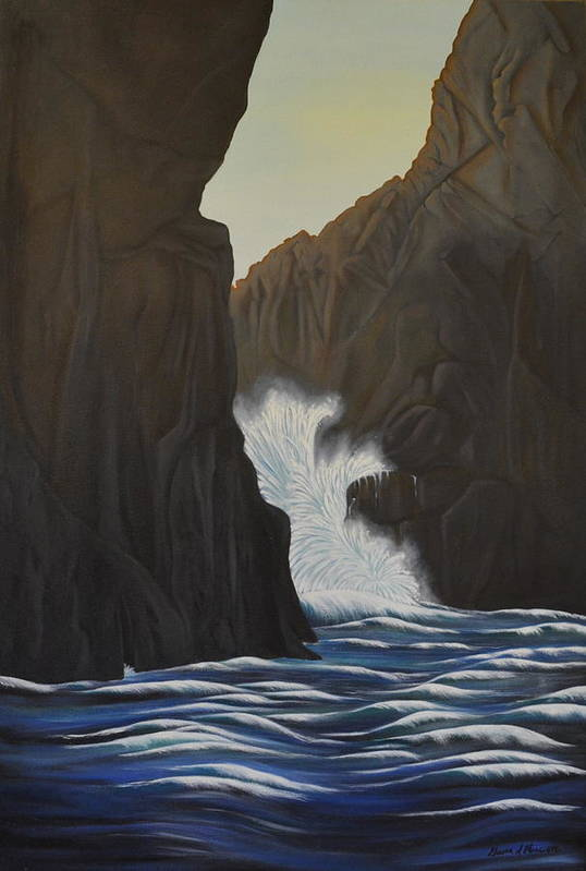 Waves- Water- Cliffs- Art Print featuring the painting Rapids by Gwen Albee
