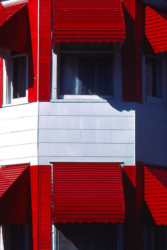 Vibrant Art Print featuring the photograph Red Awnings by Alfred Dominic Ligammari II