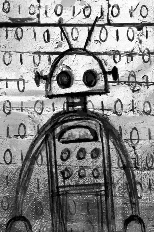 Robot Art Print featuring the digital art Robot Graffiti 2 Of 6 by Roseanne Jones