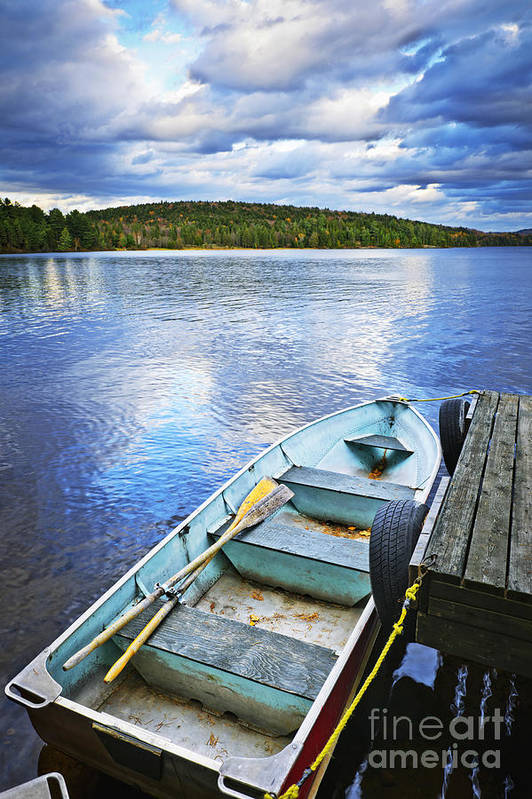 Rowboat Print featuring the photograph Rowboat Docked On Lake by Elena Elisseeva