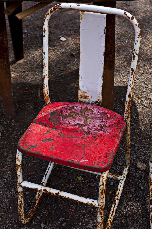 Chair Print featuring the photograph Rusty Metal Chair by Garry Gay