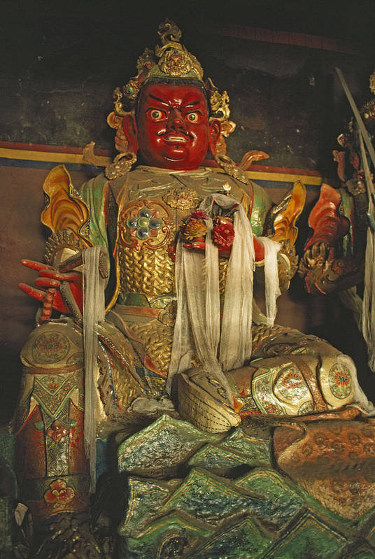 Tibetan Buddhism Art Print featuring the photograph Sculpture Of Wrathful Protective Deity by Gordon Wiltsie