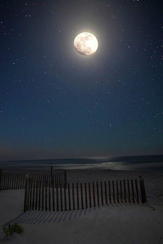 Moon Art Print featuring the photograph Seaside Moonset by Charles Warren