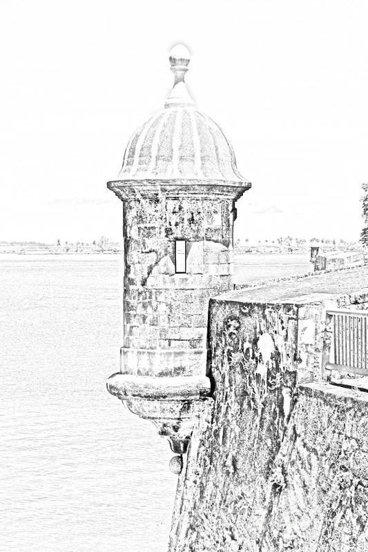 Travelpixpro Puerto Rico Art Print featuring the digital art Sentry Tower Castillo San Felipe Del Morro Fortress San Juan Puerto Rico Line Art Black And White by Shawn O'Brien