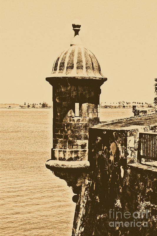Travelpixpro Puerto Rico Art Print featuring the photograph Sentry Tower Castillo San Felipe Del Morro Fortress San Juan Puerto Rico Rustic by Shawn O'Brien