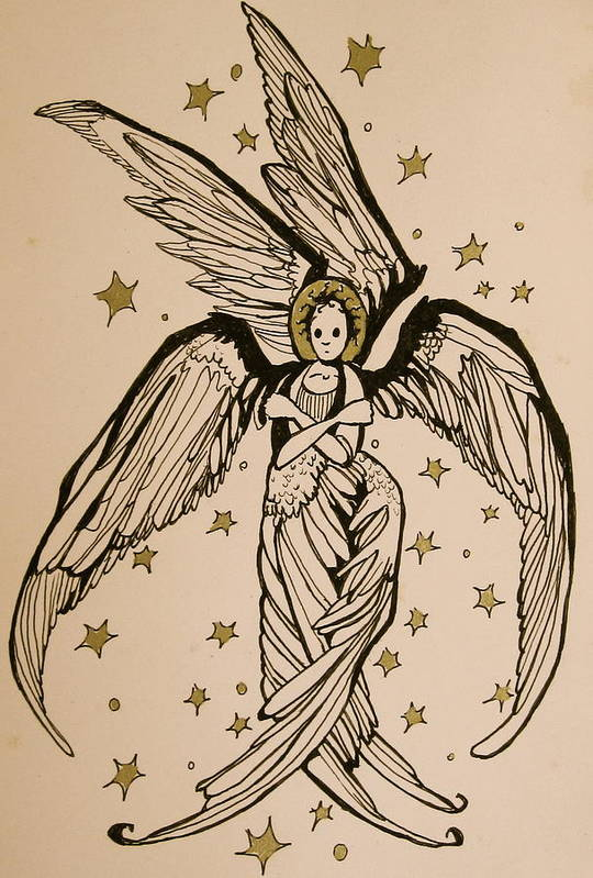 Seraphim Angel Art Print featuring the drawing Seraphim by Jackie Rock