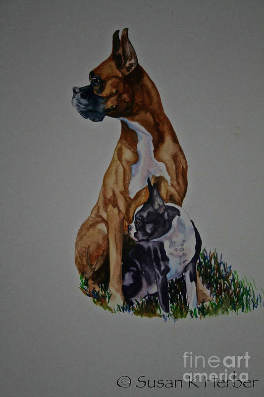 Boxer Print featuring the pastel Sister Story by Susan Herber