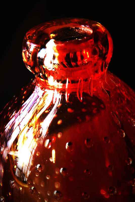 Glass Art Print featuring the photograph Small Red Vase by Simone Hester