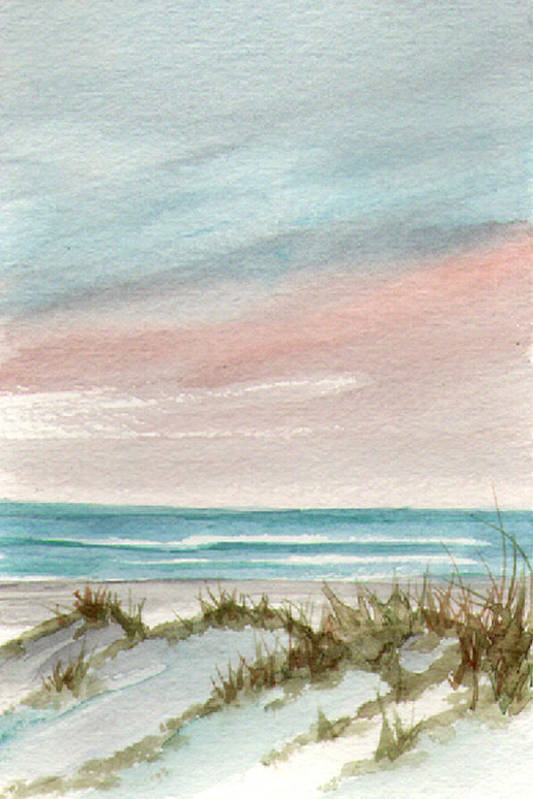 Seascape Art Print featuring the painting Soothing Sunset by Rosie Brown