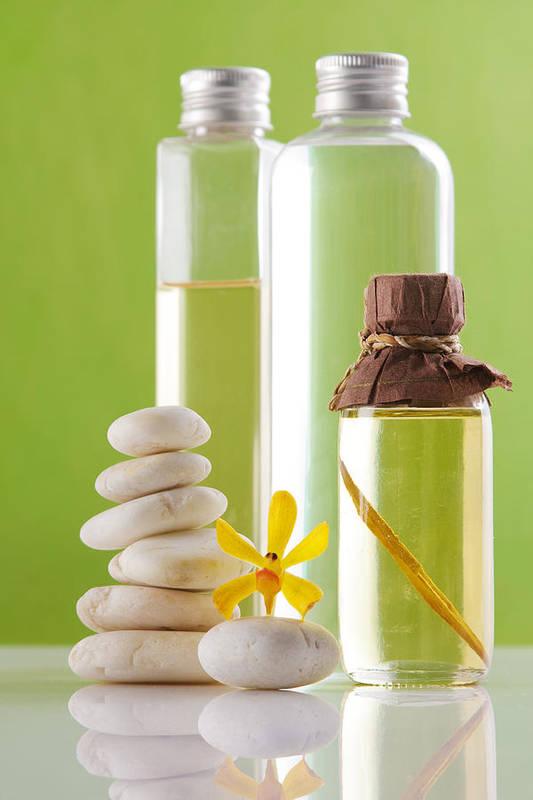 Spa-treatment Print featuring the photograph Spa Oil Bottles by Atiketta Sangasaeng