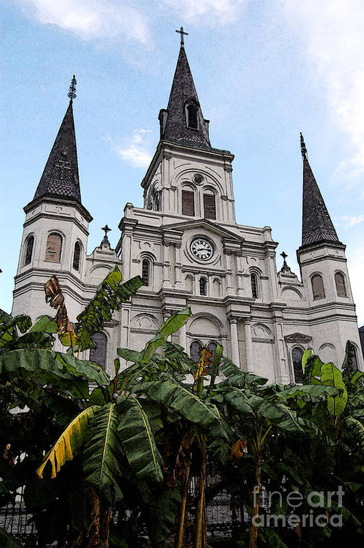 Travelpixpro New Orleans Art Print featuring the digital art St Louis Cathedral Rising Above Palms Jackson Square New Orleans Fresco Digital Art by Shawn O'Brien